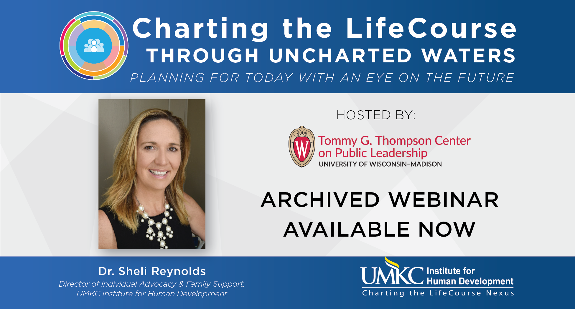 "This graphic shows a picture of Sheli Reynolds on top of a grey and blue background with the words ""Charting the LifeCourse Through Uncharted Waters. Planning for today with an eye on the future."""